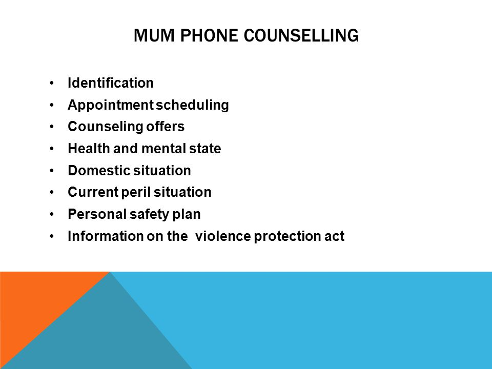 MUM PHONE COUNSELLING Identification Appointment scheduling Counseling offers Health and mental state Domestic situation Current peril situation Personal safety plan Information on the violence protection act