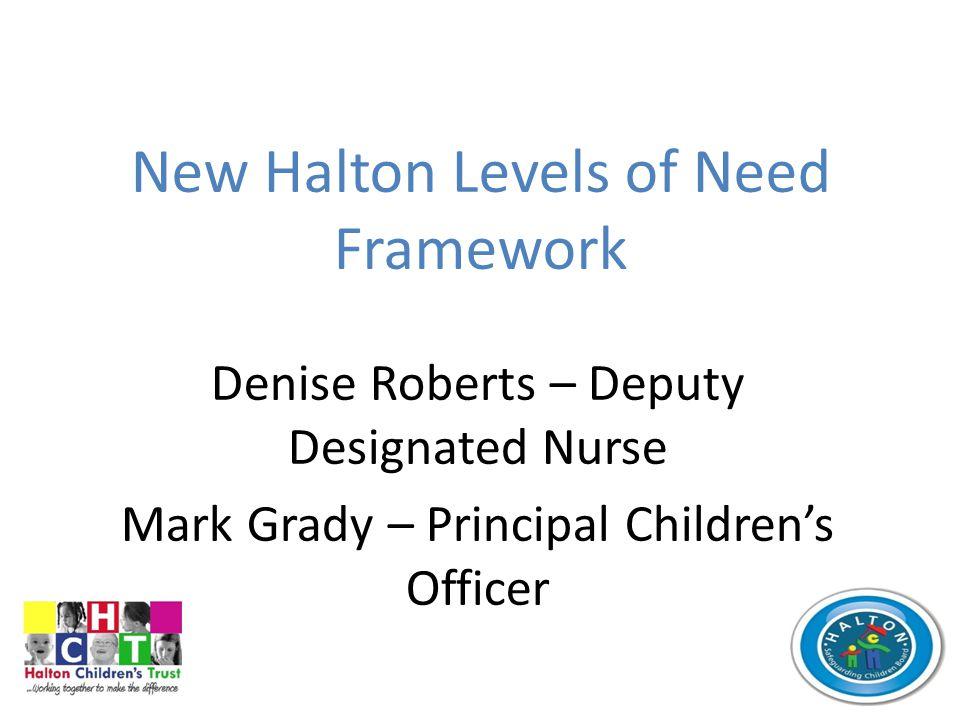 New Halton Levels of Need Framework Denise Roberts – Deputy Designated Nurse Mark Grady – Principal Children's Officer