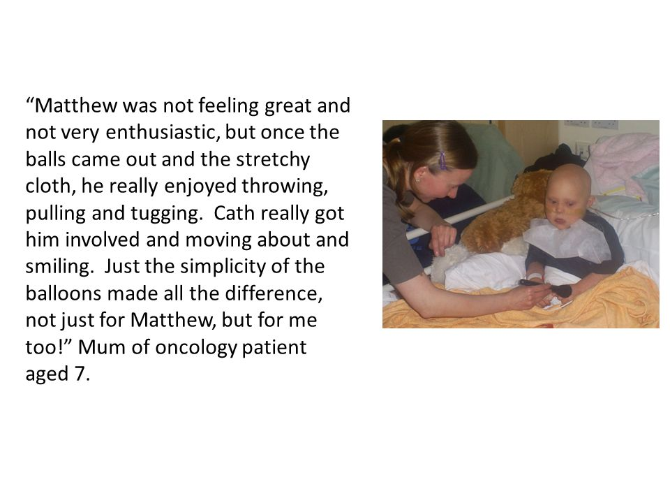 """""""Matthew was not feeling great and not very enthusiastic, but once the balls came out and the stretchy cloth, he really enjoyed throwing, pulling and"""