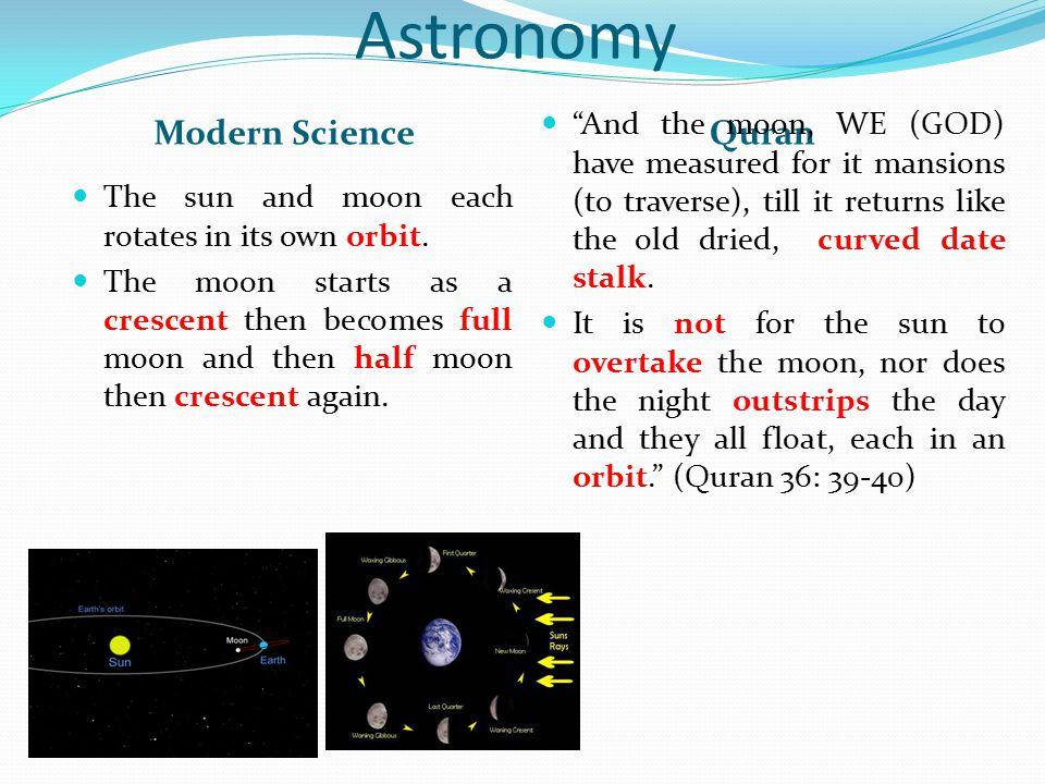 Astronomy Modern ScienceQuran The sun and moon each rotates in its own orbit. The moon starts as a crescent then becomes full moon and then half moon