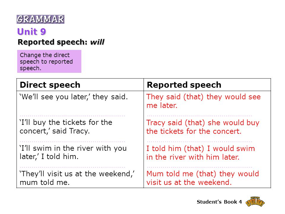 Student's Book 4 Change the direct speech to reported speech. Reported speech: will Unit 9 Direct speechReported speech 'We'll see you later,' they sa