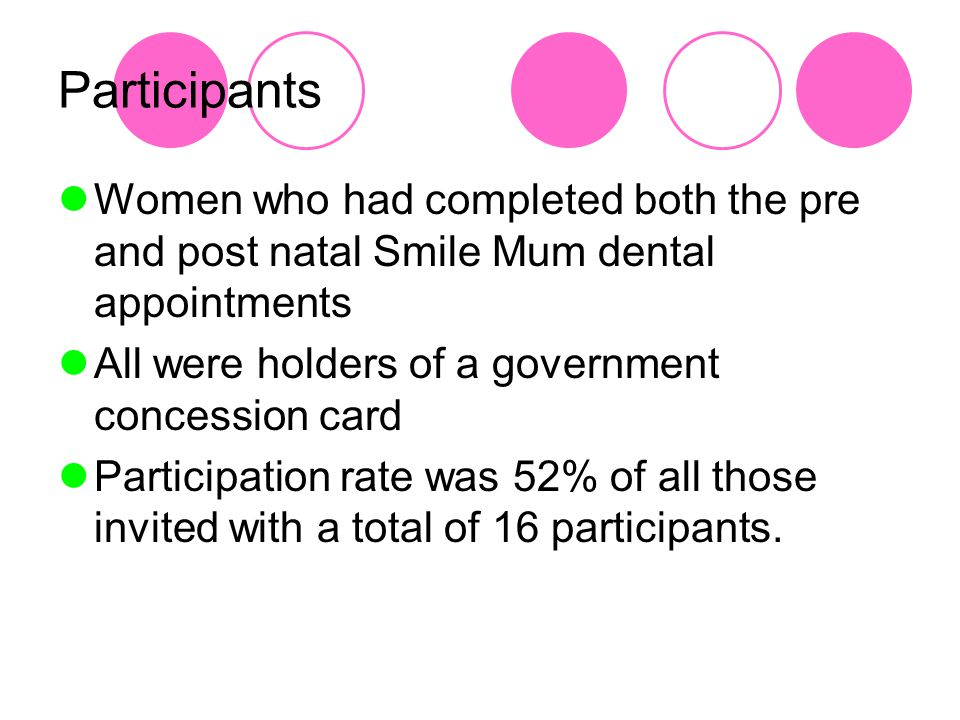 Participants Women who had completed both the pre and post natal Smile Mum dental appointments All were holders of a government concession card Participation rate was 52% of all those invited with a total of 16 participants.