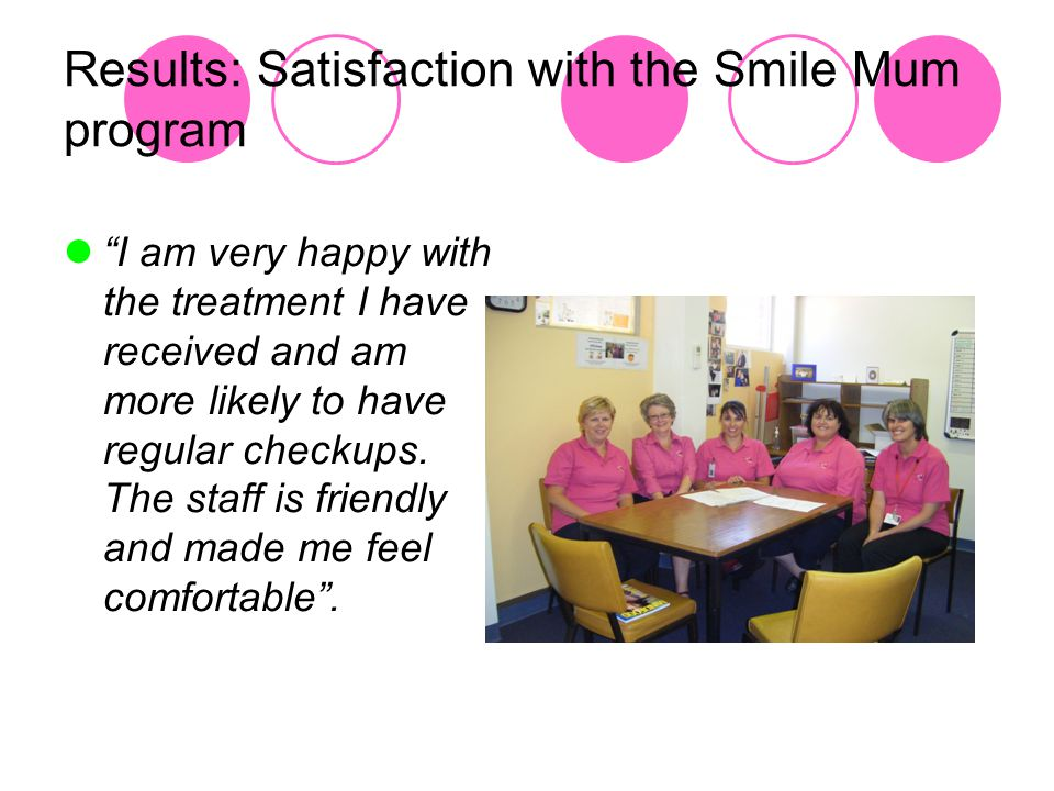 Results: Satisfaction with the Smile Mum program I am very happy with the treatment I have received and am more likely to have regular checkups.