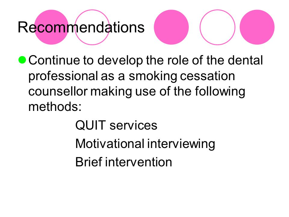 Recommendations Continue to develop the role of the dental professional as a smoking cessation counsellor making use of the following methods: QUIT services Motivational interviewing Brief intervention