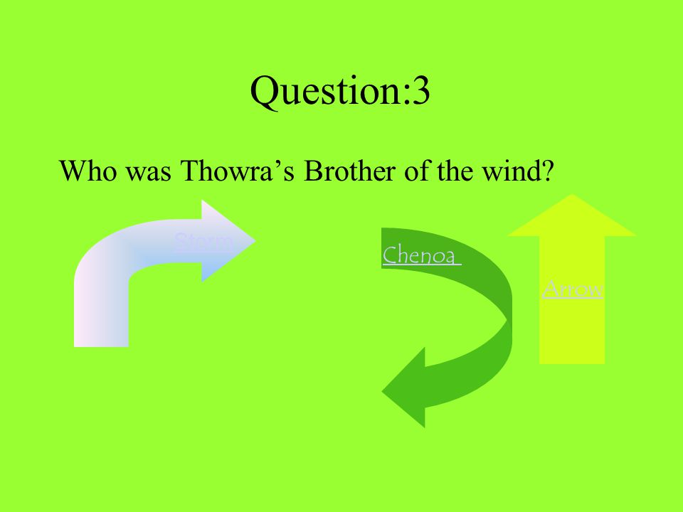 Question:3 Who was Thowra's Brother of the wind? Arrow Storm Chenoa