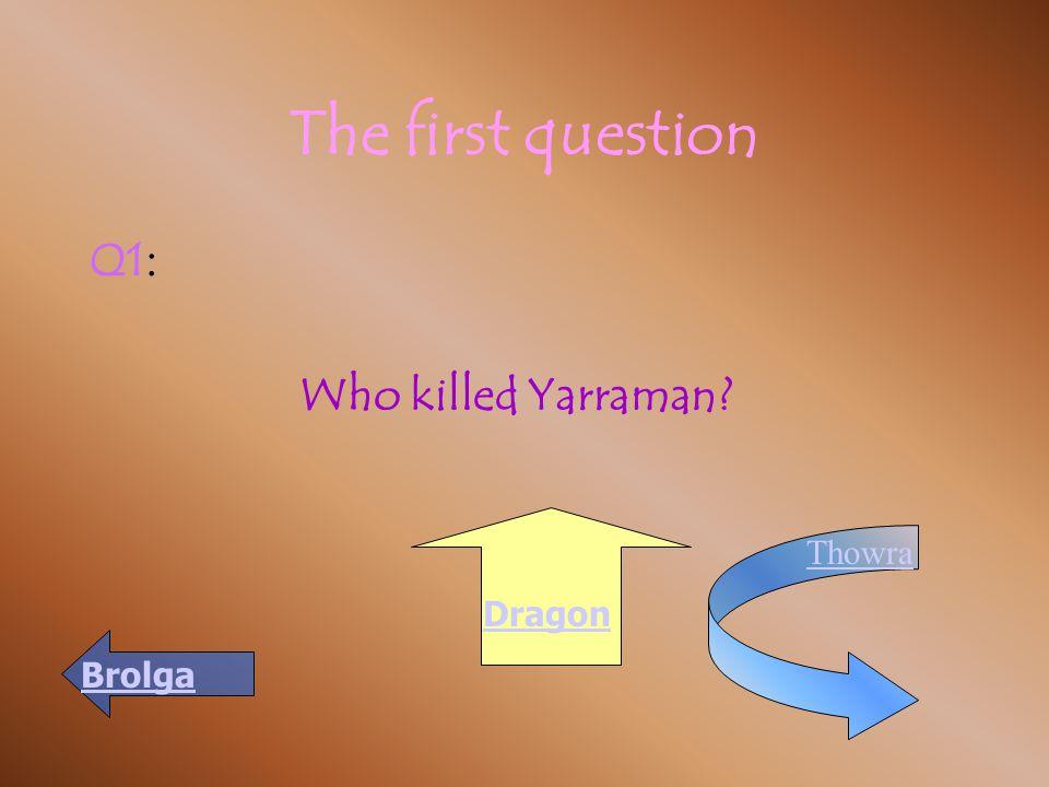 The first question Q1 : Who killed Yarraman? Brolga Thowra Dragon