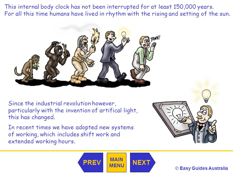 © Easy Guides Australia MAIN MENU NEXTPREV This internal body clock has not been interrupted for at least 150,000 years.