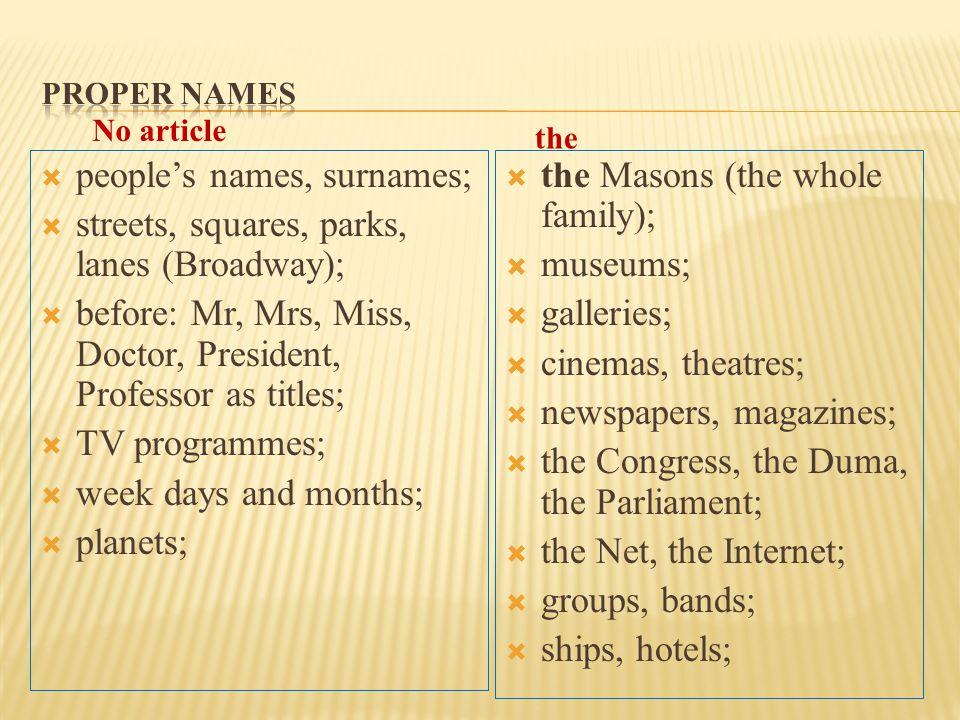  people's names, surnames;  streets, squares, parks, lanes (Broadway);  before: Mr, Mrs, Miss, Doctor, President, Professor as titles;  TV program