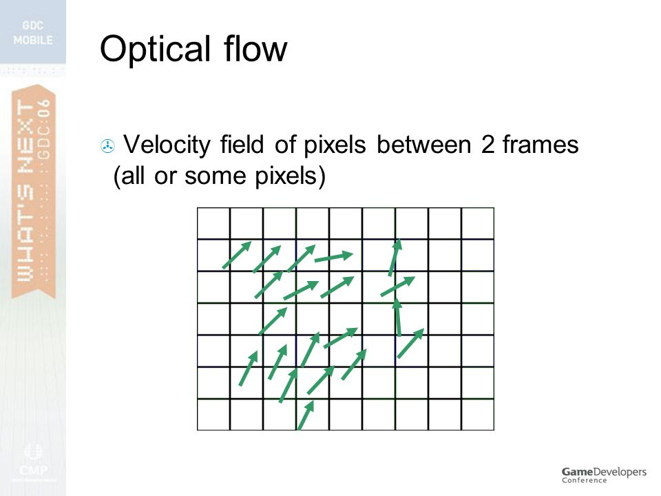 Optical flow  Velocity field of pixels between 2 frames (all or some pixels)