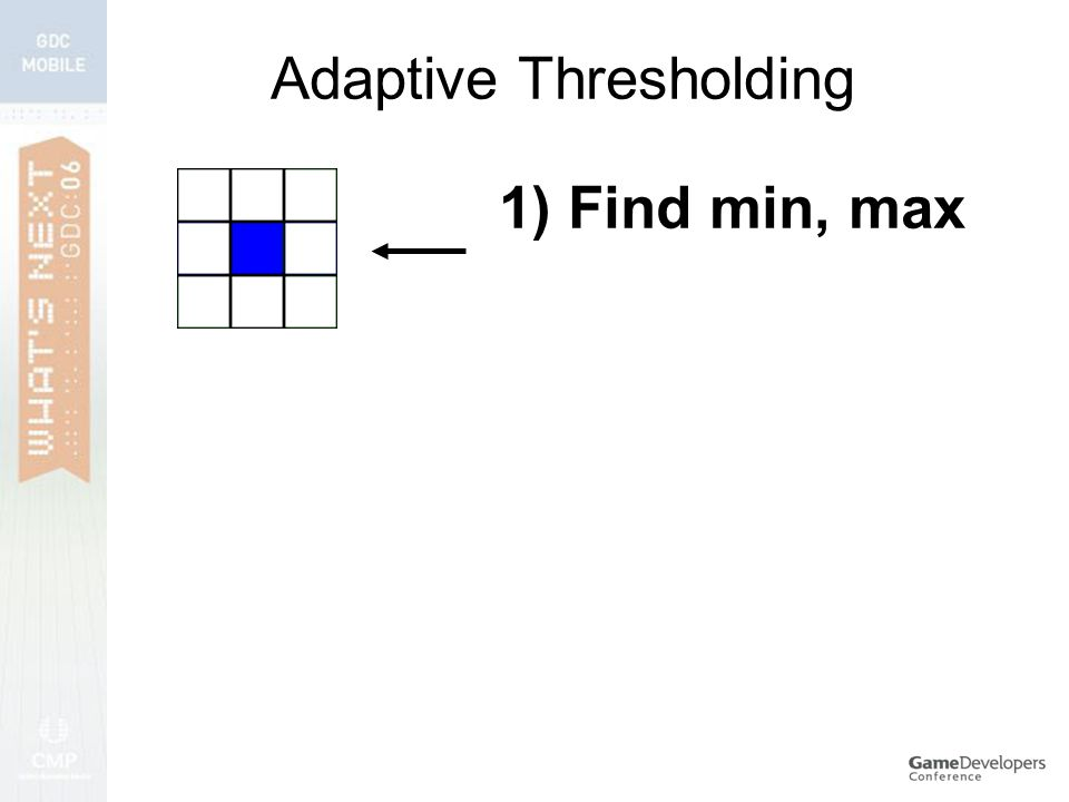 Adaptive Thresholding 1) Find min, max