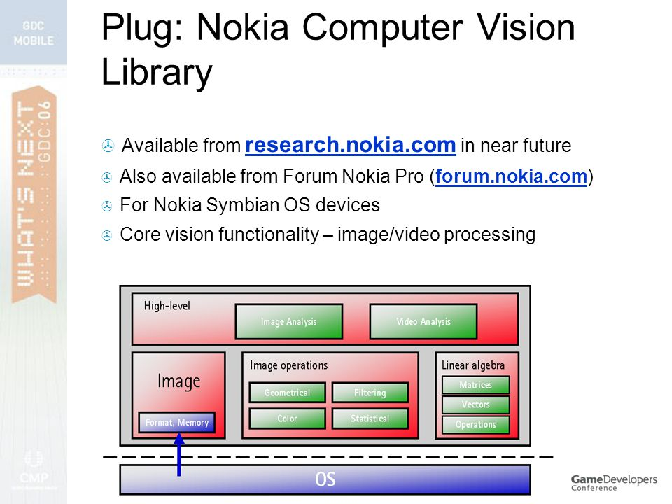 Plug: Nokia Computer Vision Library  Available from research.nokia.com in near future  Also available from Forum Nokia Pro (forum.nokia.com)  For Nokia Symbian OS devices  Core vision functionality – image/video processing