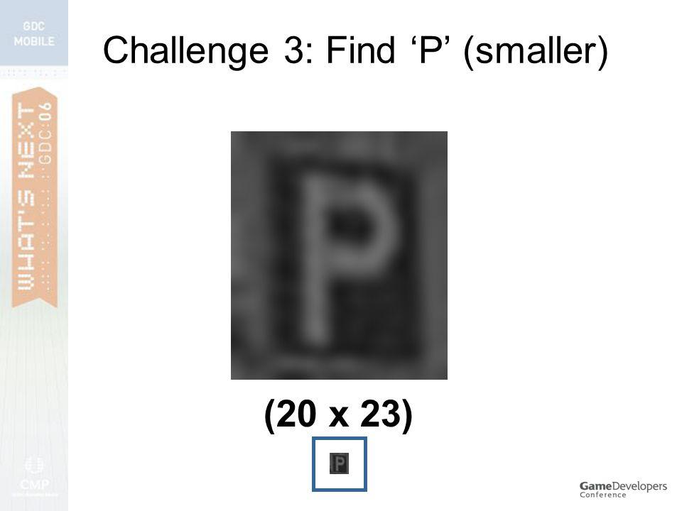 Challenge 3: Find 'P' (smaller) (20 x 23)