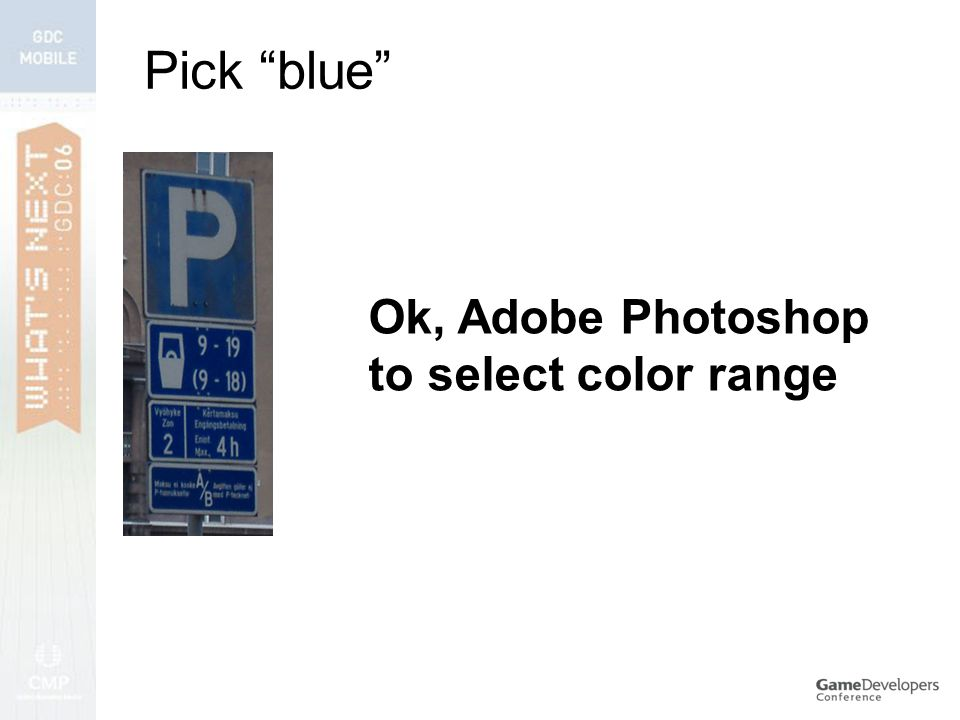 Pick blue Ok, Adobe Photoshop to select color range