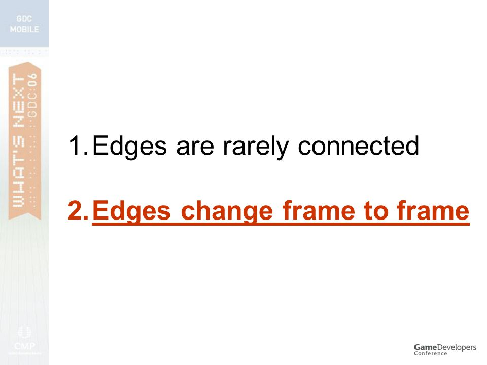 1.Edges are rarely connected 2.Edges change frame to frame