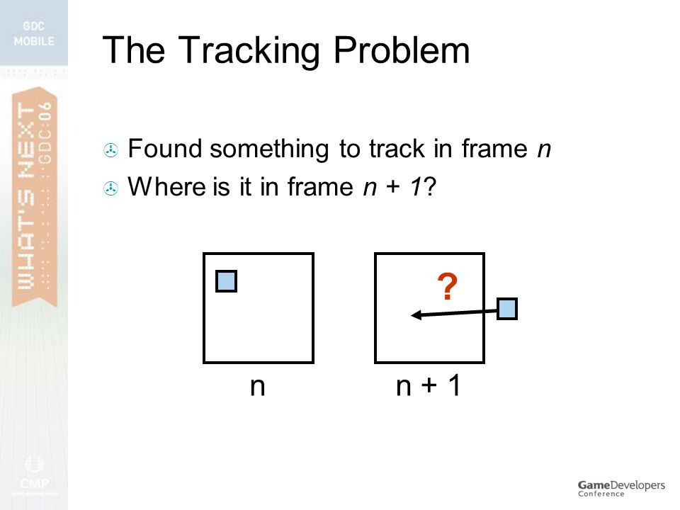 The Tracking Problem  Found something to track in frame n  Where is it in frame n + 1 nn + 1