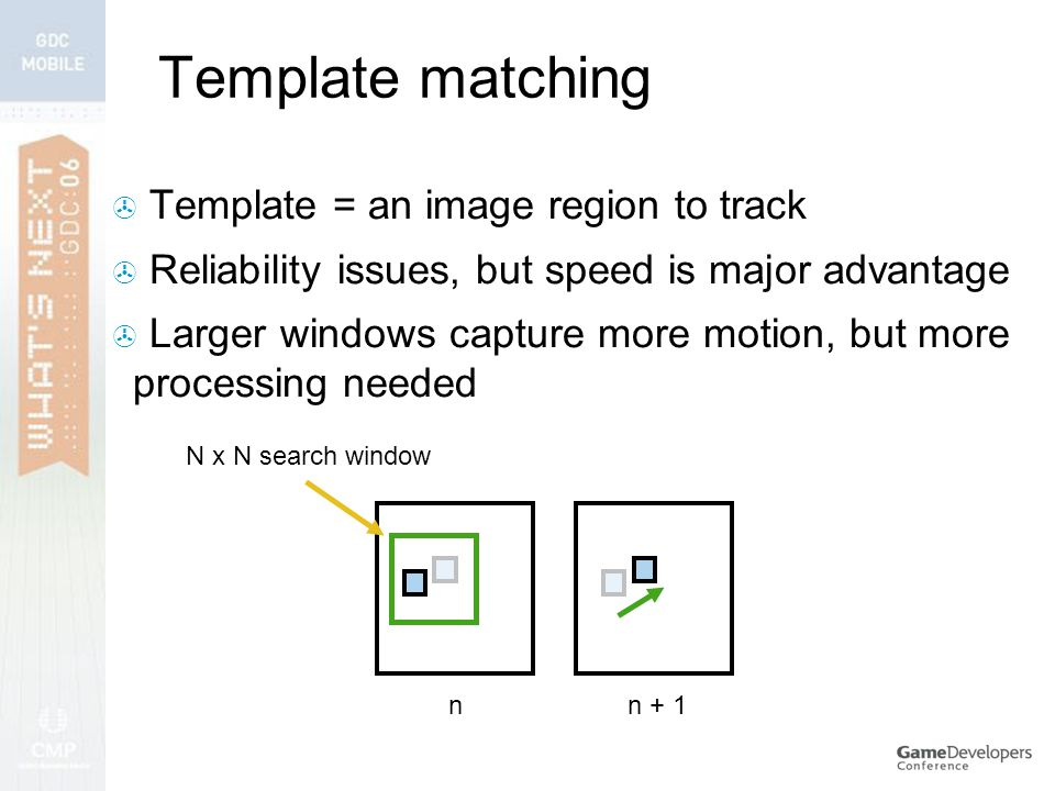  Template = an image region to track  Reliability issues, but speed is major advantage  Larger windows capture more motion, but more processing needed n + 1n N x N search window Template matching
