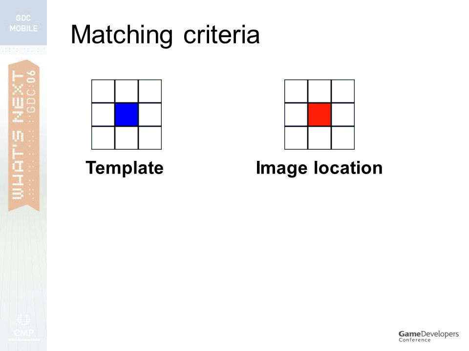 Matching criteria TemplateImage location