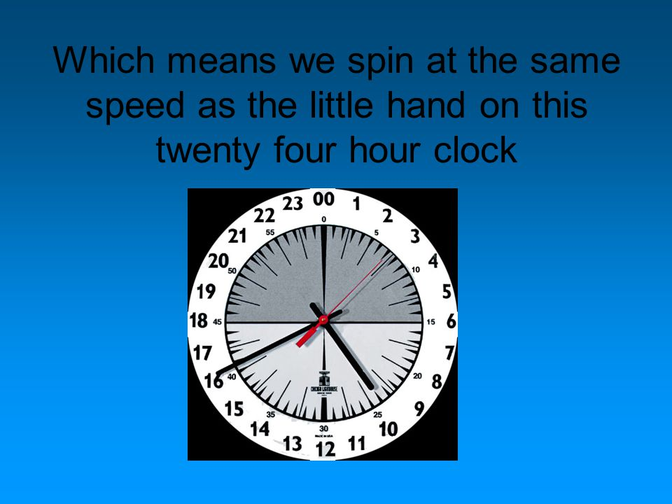 Which means we spin at the same speed as the little hand on this twenty four hour clock