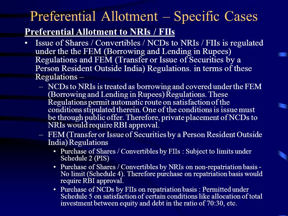 Preferential Allotment – Specific Cases Preferential Issue of Debt Securities SEBI Circular on private placement of debt securities by listed cos. (30