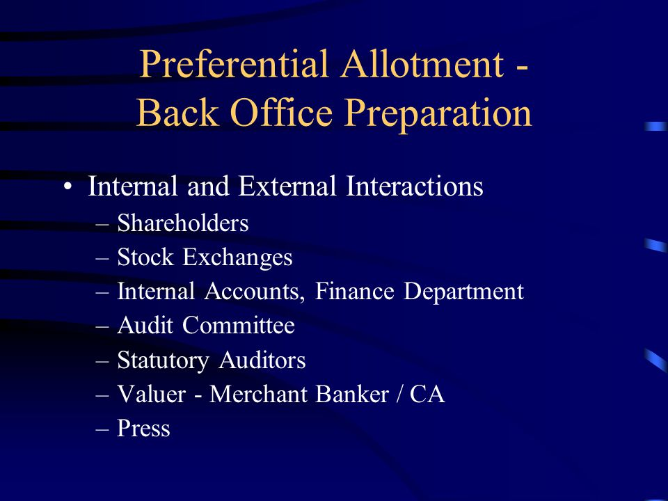 Preferential Allotment - Back Office Preparation Projection of funds to be raised, utilisation of funds, variation if any, reasons for material variat