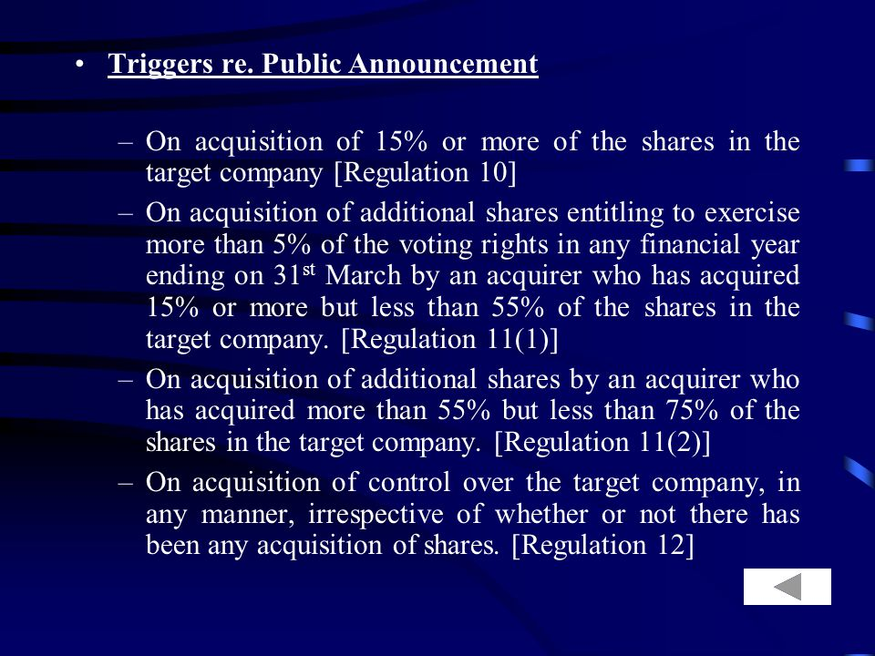 Disclosure Limits under SAST –Acquisition of 5% or 10% or 14% or 54% or 74% shares in the target company and purchase or sale of shares aggregating 2%