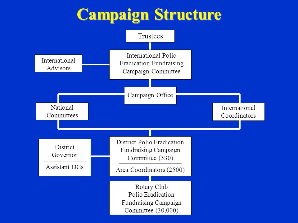Campaign Structure Trustees International Polio Eradication Fundraising Campaign Committee International Advisors Campaign Office International Coordinators National Committees District Polio Eradication Fundraising Campaign Committee (530) Area Coordinators (2500) District Governor Assistant DGs Rotary Club Polio Eradication Fundraising Campaign Committee (30,000)