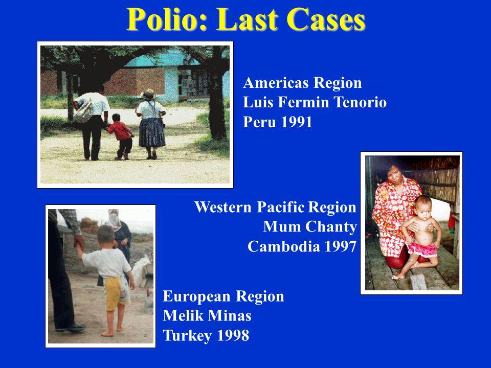 Western Pacific Region Mum Chanty Cambodia 1997 European Region Melik Minas Turkey 1998 Americas Region Luis Fermin Tenorio Peru 1991 Polio: Last Cases
