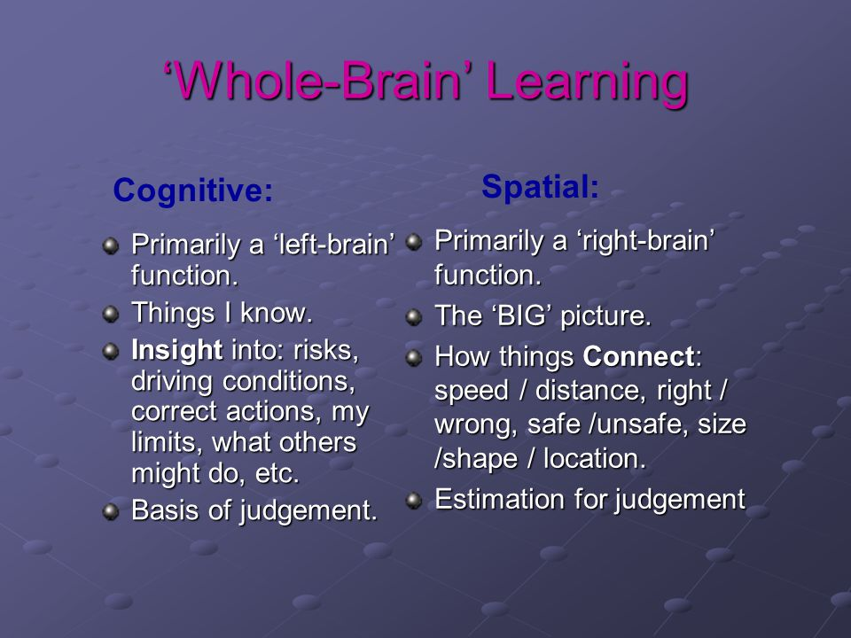 'Whole-Brain' Learning Primarily a 'left-brain' function. Things I know. Insight into: risks, driving conditions, correct actions, my limits, what oth