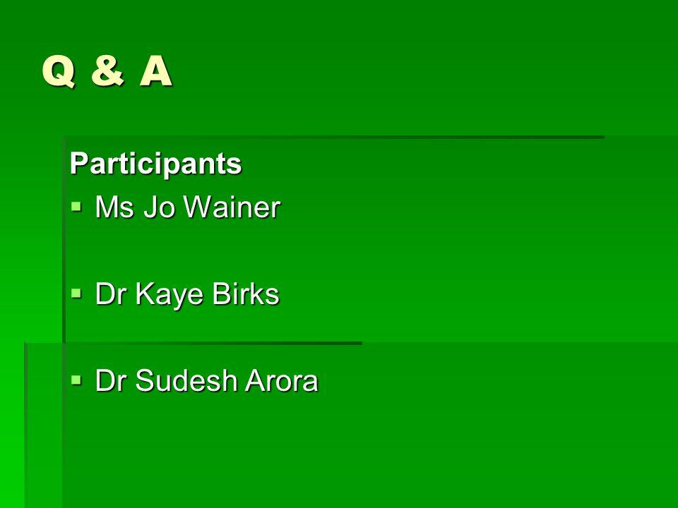 Q & A Participants  Ms Jo Wainer  Dr Kaye Birks  Dr Sudesh Arora