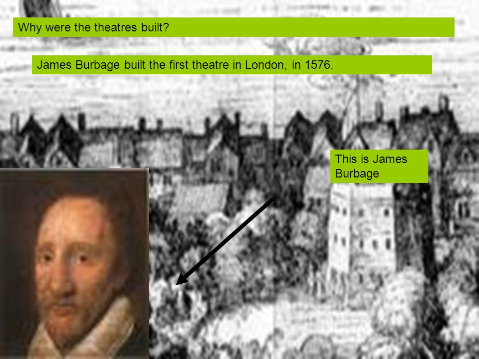 Why were the theatres built. James Burbage built the first theatre in London, in 1576.