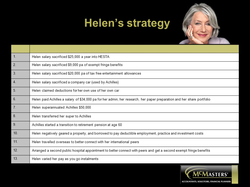 Helen's strategy 1. Helen salary sacrificed $25,000 a year into HESTA 2.Helen salary sacrificed $9,000 pa of exempt fringe benefits 3.Helen salary sac