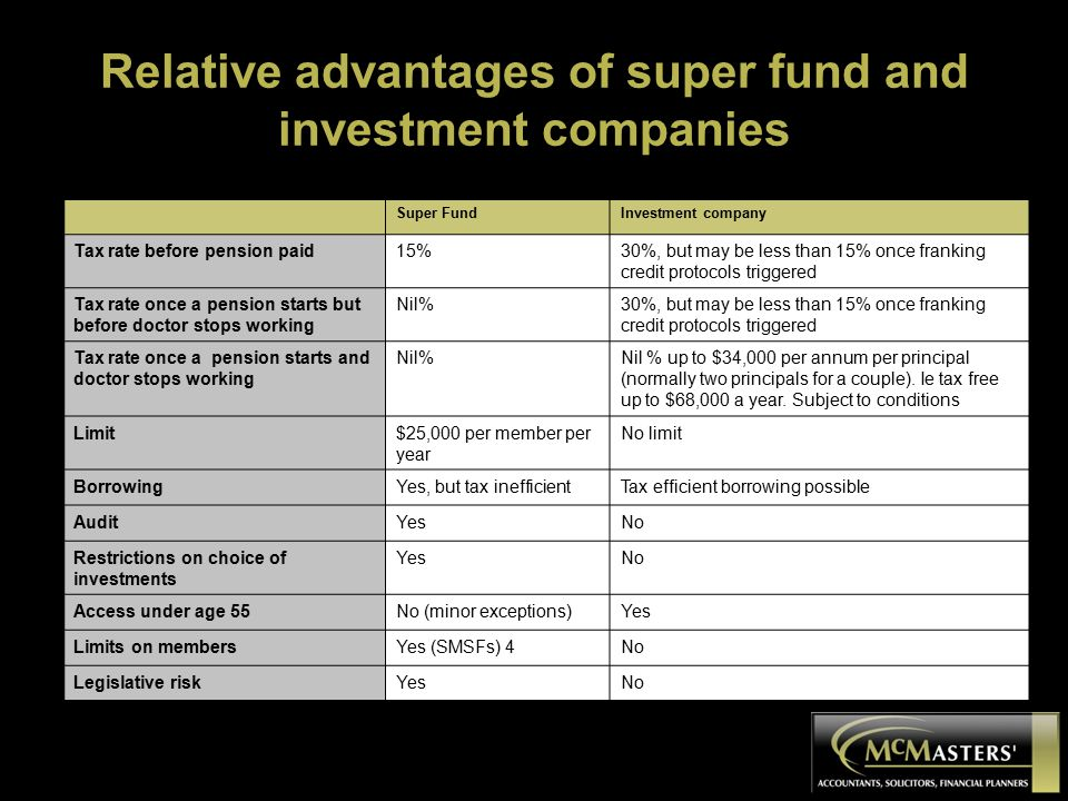 Relative advantages of super fund and investment companies Super FundInvestment company Tax rate before pension paid15%30%, but may be less than 15% once franking credit protocols triggered Tax rate once a pension starts but before doctor stops working Nil%30%, but may be less than 15% once franking credit protocols triggered Tax rate once a pension starts and doctor stops working Nil%Nil % up to $34,000 per annum per principal (normally two principals for a couple).