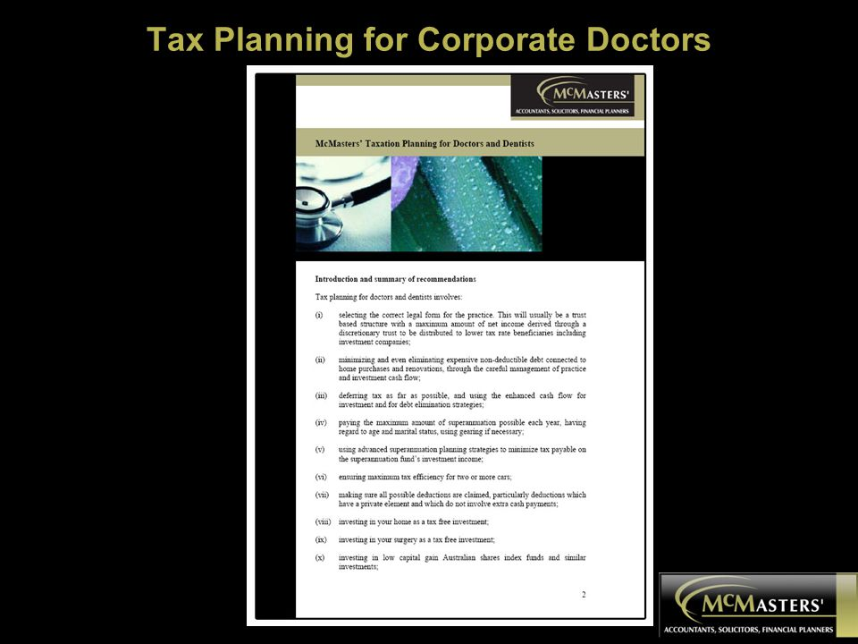 Tax Planning for Corporate Doctors
