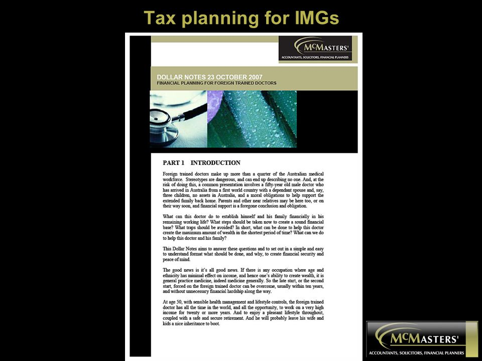 Tax planning for IMGs