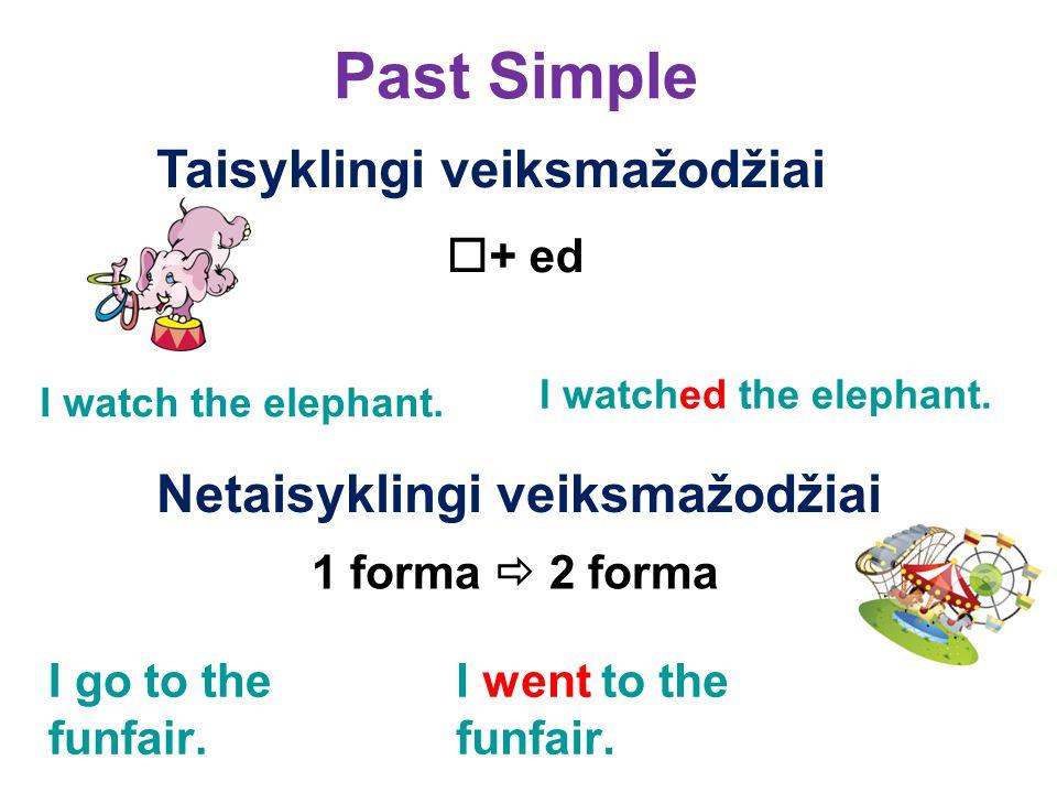 Past Simple Taisyklingi veiksmažodžiai  + ed I watch the elephant.