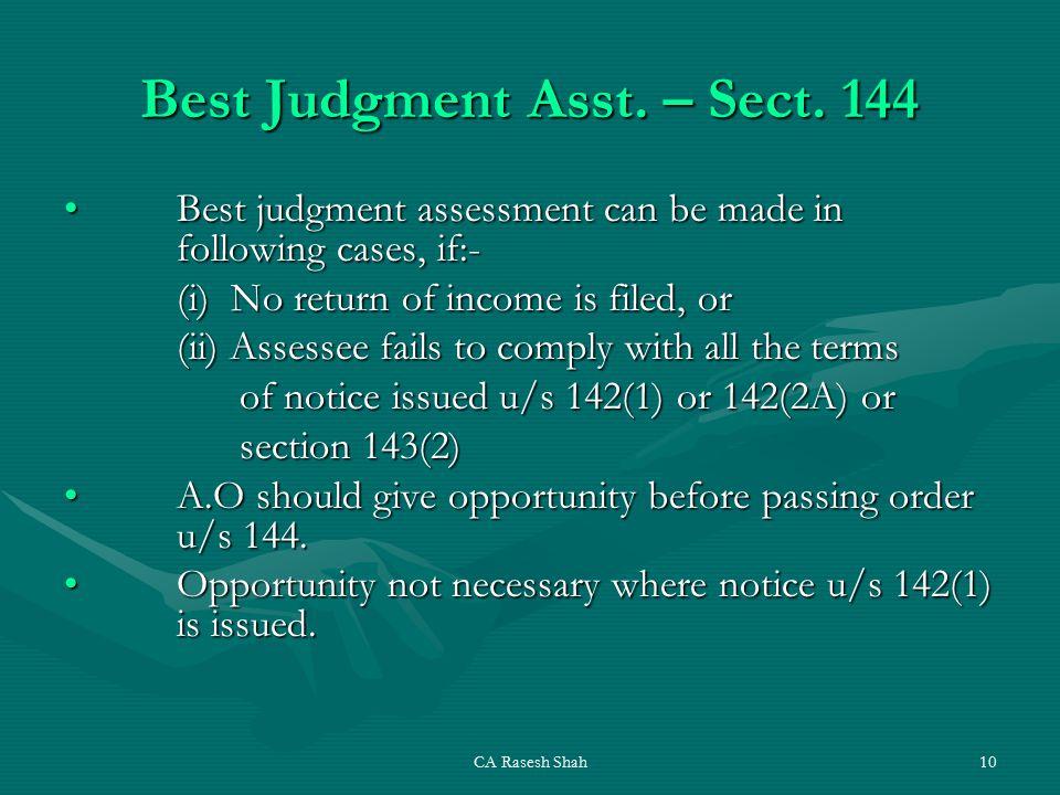 CA Rasesh Shah10 Best Judgment Asst. – Sect.