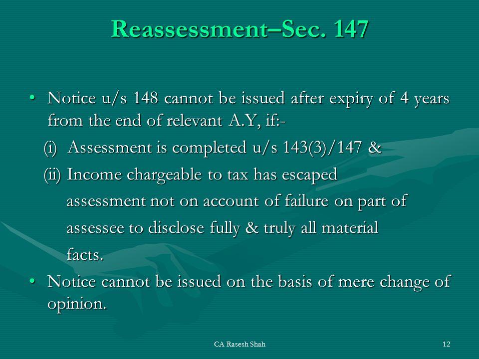 CA Rasesh Shah12 Reassessment–Sec.