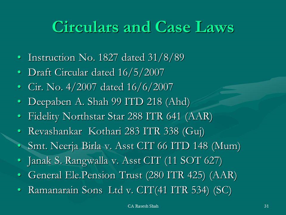 CA Rasesh Shah31 Circulars and Case Laws Instruction No.