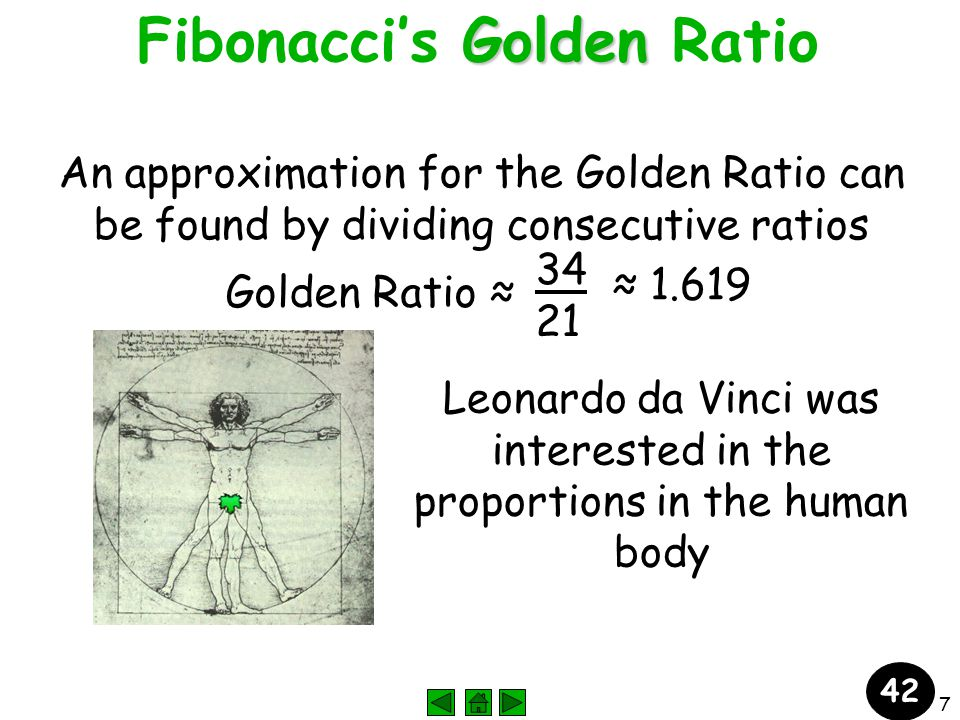 7 Golden Fibonacci's Golden Ratio An approximation for the Golden Ratio can be found by dividing consecutive ratios Golden Ratio ≈ 34 21 ≈ 1.619 Leonardo da Vinci was interested in the proportions in the human body 42