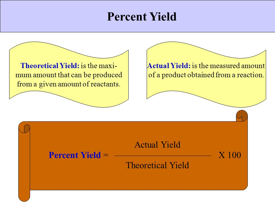 CHEMICAL BONDING Percent Yield Theoretical Yield: is the maxi- mum amount that can be produced from a given amount of reactants. Actual Yield: is the
