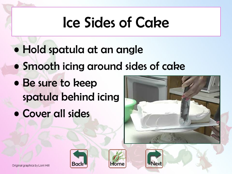 Original graphics by Lorri Hill Ice Sides of Cake Hold spatula at an angle Smooth icing around sides of cake Be sure to keep spatula behind icing Cove