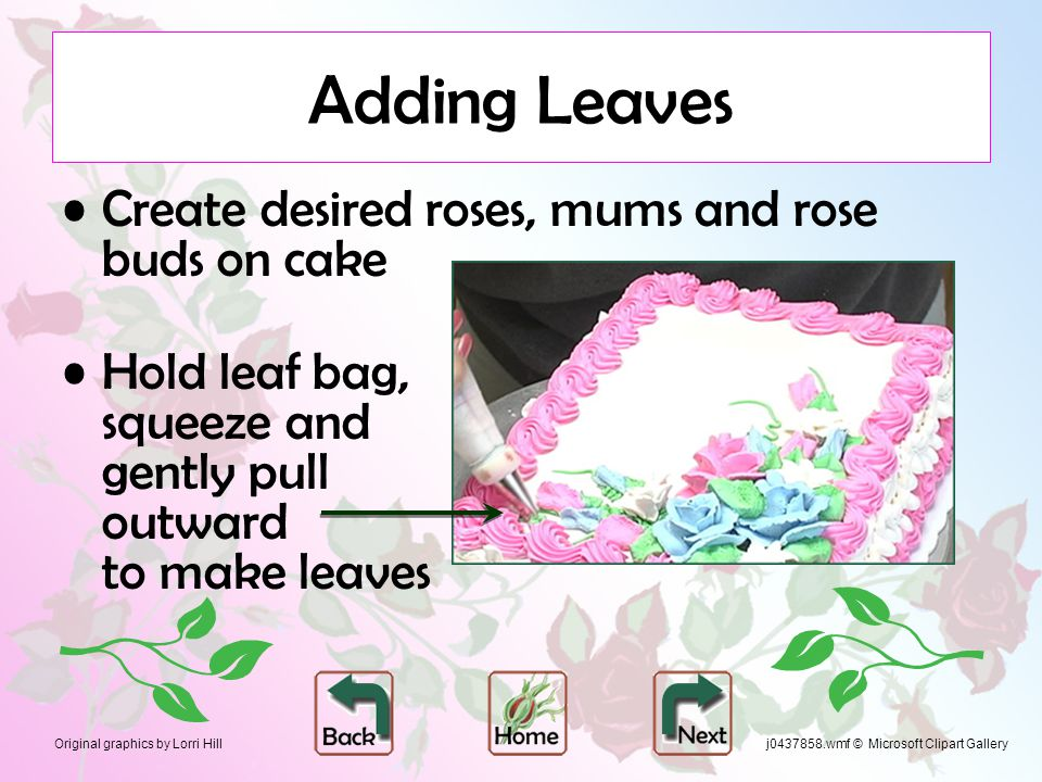 Original graphics by Lorri Hill Adding Leaves Create desired roses, mums and rose buds on cake Hold leaf bag, squeeze and gently pull outward to make leaves j0437858.wmf © Microsoft Clipart Gallery