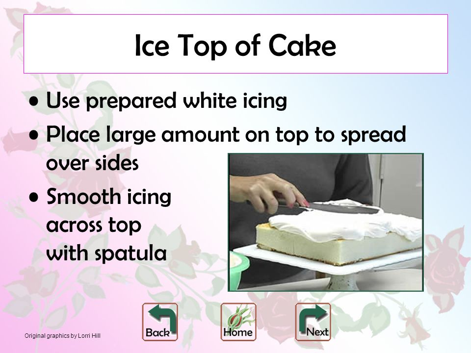 Original graphics by Lorri Hill Ice Top of Cake Use prepared white icing Place large amount on top to spread over sides Smooth icing across top with spatula