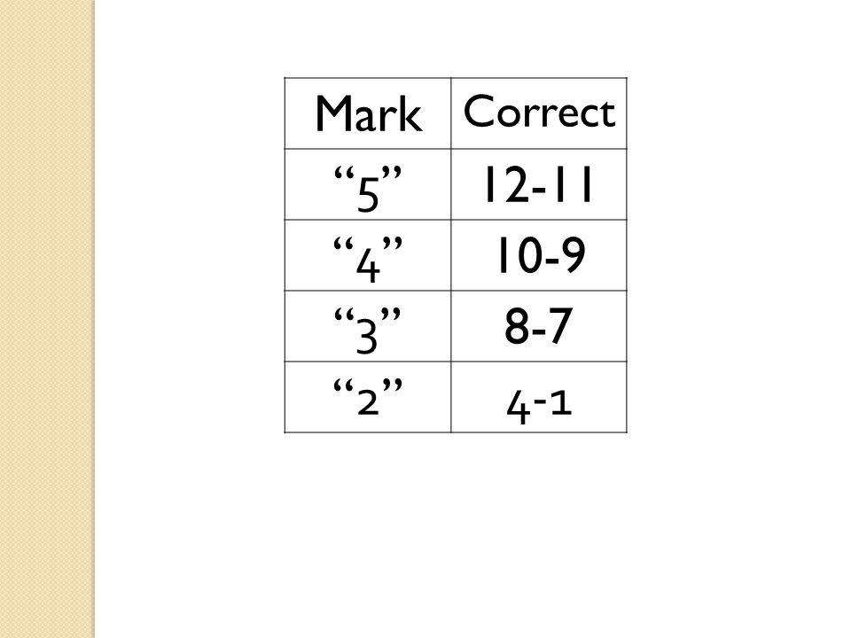 Mark Correct 5 5 12-11 4 4 10-9 3 3 8-7 2 2 4-1