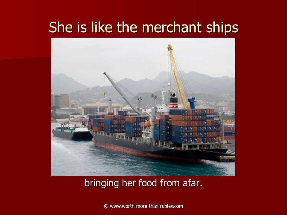 © www.worth-more-than-rubies.com She is like the merchant ships bringing her food from afar.