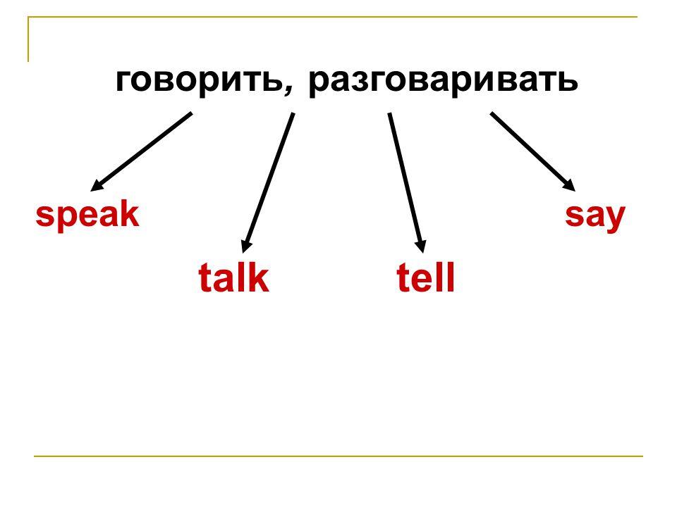 говорить, разговаривать speak talktell say