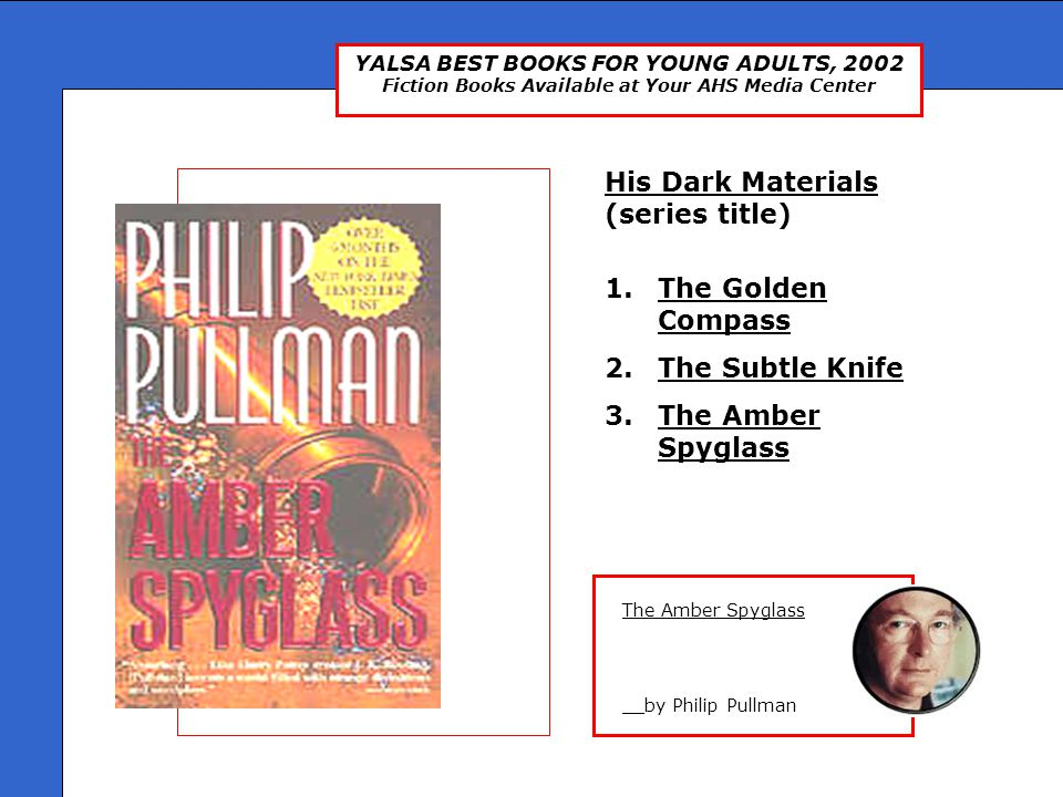 YALSA BEST BOOKS FOR YOUNG ADULTS, 2002 Fiction Books Available at Your AHS Media Center The Color of Absence: Twelve Stories About Loss and Hope __edited by James Howe The Color Of Absence Twelve short stories that examine how young people deal with different types of loss.