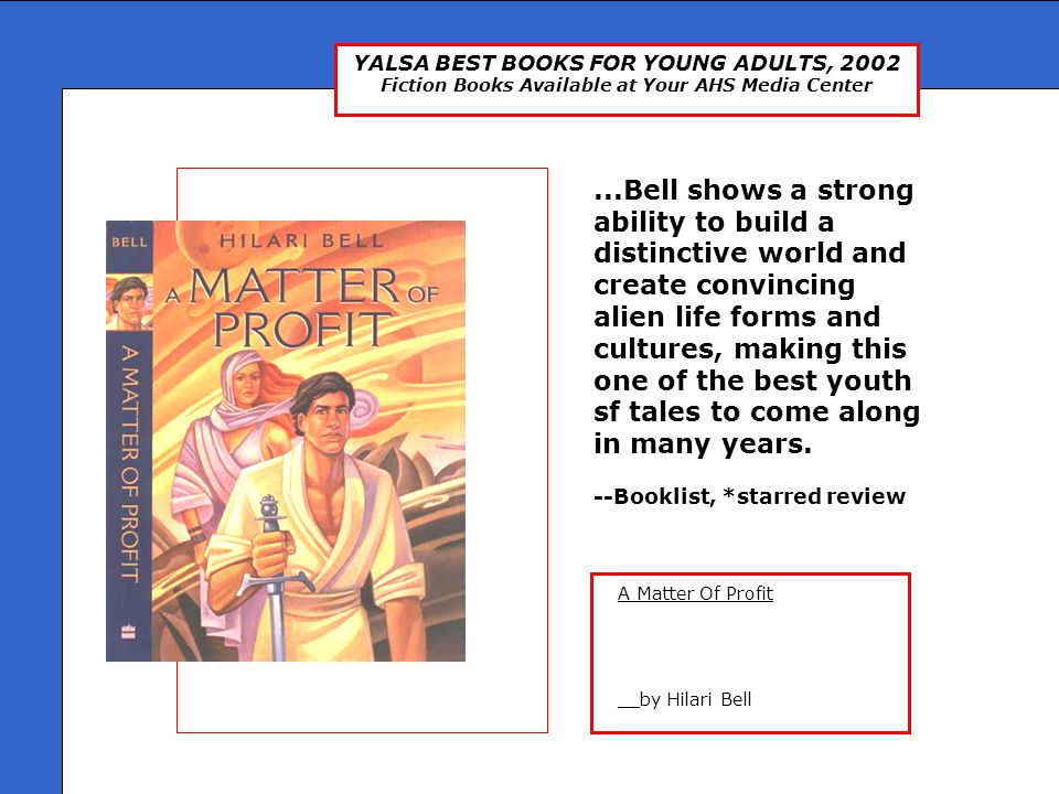 YALSA BEST BOOKS FOR YOUNG ADULTS, 2002 Fiction Books Available at Your AHS Media Center Presented by: Ms.