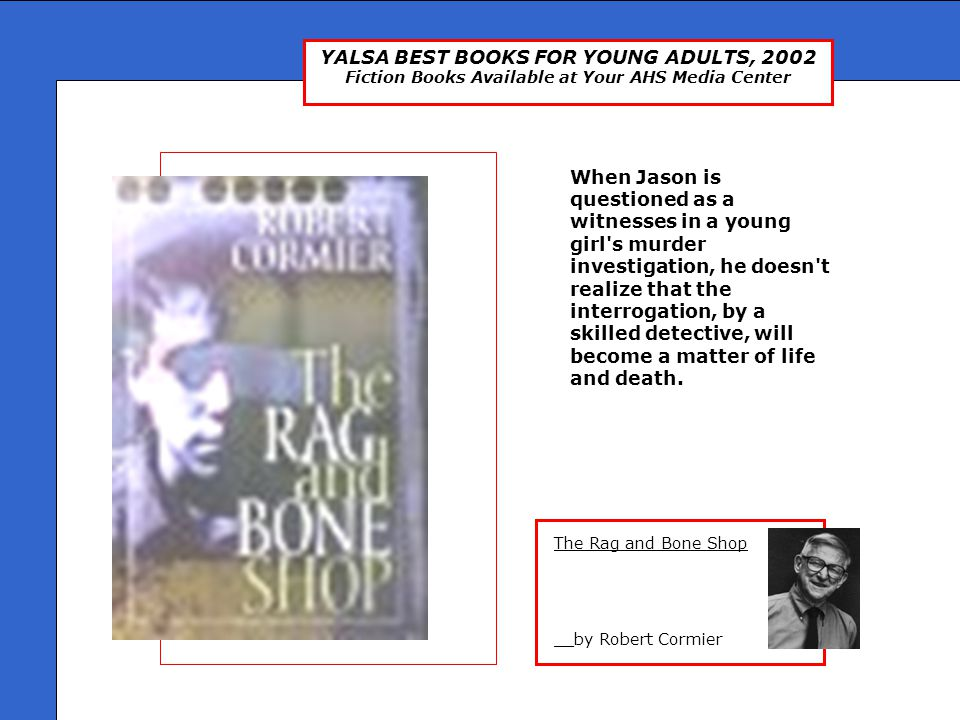 YALSA BEST BOOKS FOR YOUNG ADULTS, 2002 Fiction Books Available at Your AHS Media Center Zazoo __by Richard Mosher Zazoo, a Vietnamese orphan, adopted by Grand-Pierre, must face never-explored questions about her past when she meets a mysterious boy on a bicycle who appears in her small village in France.
