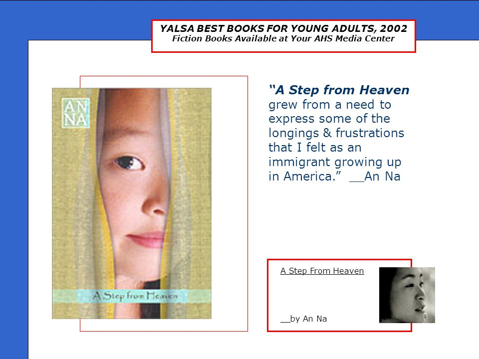 YALSA BEST BOOKS FOR YOUNG ADULTS, 2002 Fiction Books Available at Your AHS Media Center Feeling Sorry For Celia __by Jaclyn Moriarty Through her notes and letters we come to know not only Elizabeth but her mum (who communicates almost solely by notes stuck on the refrigerator) and another girl, Christina, who meets her through letters as part of an English assignment.